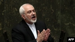 Iranian Foreign Minster Mohammad Javad Zarif speaks at a parliament session in Tehran on July 21.