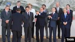 """Лідэры """"Вялікая васьмёркі"""" вітаюць Бараку Абаму 9 ліпеня 2009"""