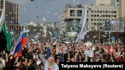 Telegram каналын колдогон митингдин катышуучулары, 30-апрель, 2018-жыл.