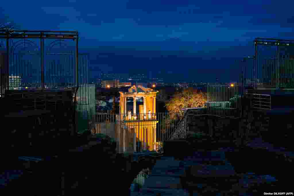 A night view of Plovdiv's Roman amphitheater. The structure was buried for centuries, and was excavated in the 1970s after a landslide helped uncover it.