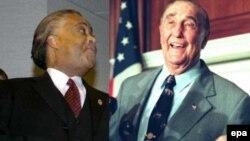 Преподобный Эл Шарптон (слева), кандидат в президенты в 2004 году и 90-летний сенатор Стром Тэрмонд: потомок раба и потомок рабовладельца.