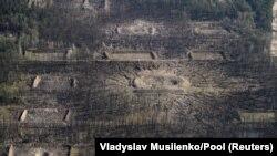 Вид с воздуха на территорию, где произошли взрывы