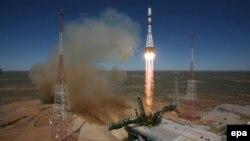 """Байқоңыр ғарыш айлағынан """"Прогресс"""" ғарыштық жүк кемесінің ұшырылу сәті. 28 сәуір 2015 жыл."""