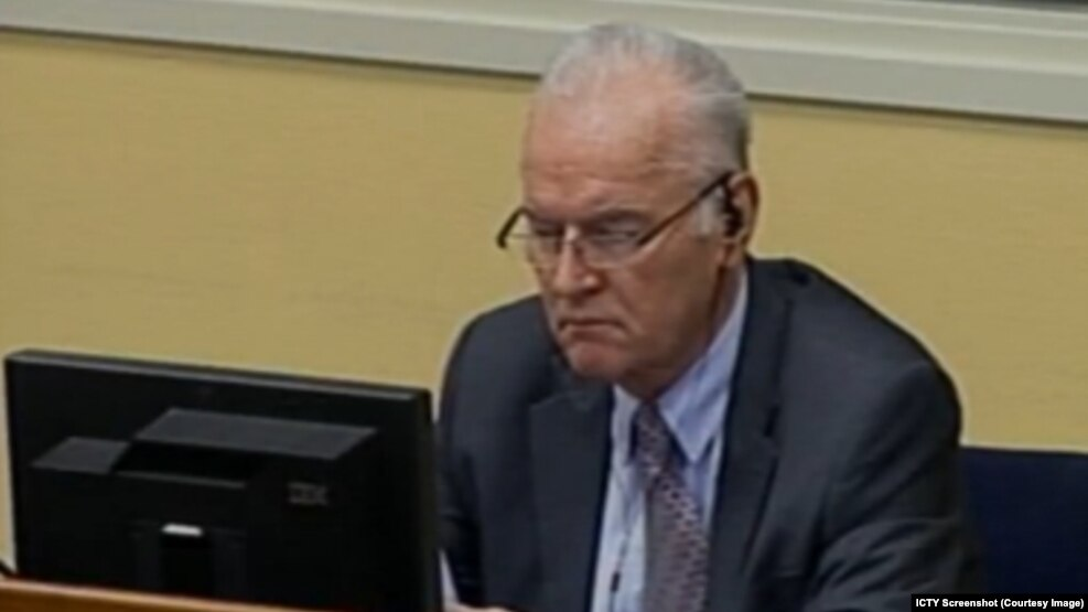Bosnian Serb wartime military commander Ratko Mladic at the International Criminal Tribunal for the former Yugoslavia (file photo)