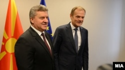 Претседателот Ѓорге Иванов во Брисел се сретна со првиот човек на Европскиот совет Доналд Туск, 25.10.2017.