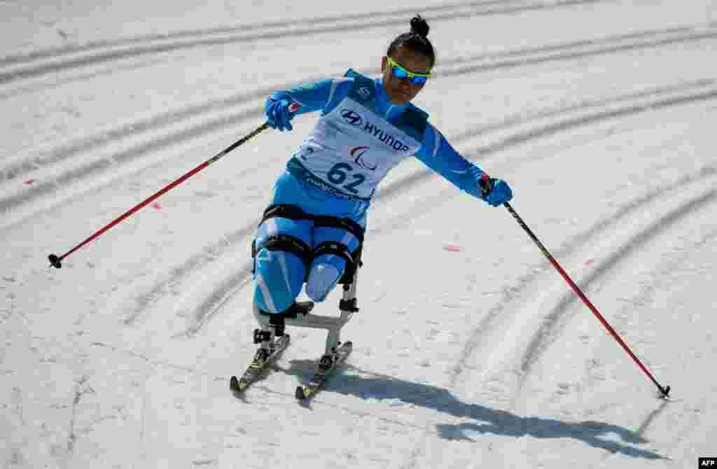 Қазақстандық Жаңыл Балтабаева шаңғы жарысына қатысып жатқан сәт. Ол Сочи паралимпиадасына да барған.