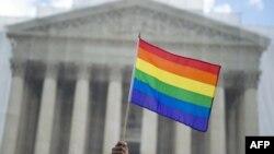 یکی از طرفداران حق ازدواج همجنسگرایان پرچم دگرباشان را در برابر دیوان عالی آمریکا در دست دارد. ۲۶ مارس ۲۰۱۳.