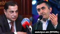 Глава парламентской фракции РПА Ваграм Багдасарян (слева) и глава фракции АРФД Армен Рустамян