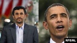 Иран президенті Махмуд Ахмединежад (сол жақта) пен АҚШ президенті Барак Обама