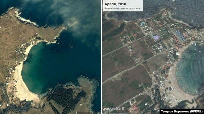 Снимки от въздуха на местността Арапя, които показват скоростта на застрояване. Арапя също е под контрла на община Царево