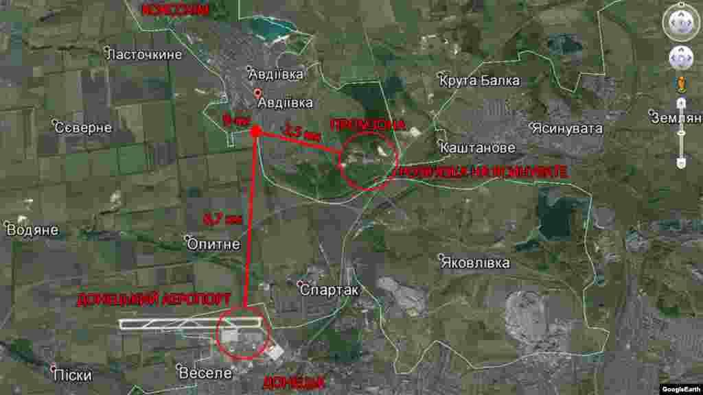«Девятки» на Google Maps и расстояние до основных объектов съемки.