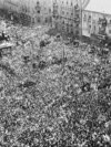 Thousands of people gather to celebrate victory over Nazi Germany in Zagreb, Yugoslavia, in 1945. On November 29 of that year exiled Yugoslav King Peter II was deposed and a communist government announced the creation of the Federal People's Republic of Yugoslavia.