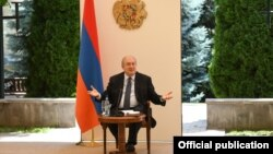 Armenia -- President Armen Sarkissian speaks at a meeting with members of a government commission on constitutional reform, Yerevan, July 7, 2020.