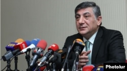 Armenia -- A former parliament member Khachatur Sukiasian at a press conference in Yerevan, 14Mar2012.