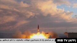 A TV grab taken on September 23, 2017 from the Iranian Republic Islamic Broadcasting (IRIB) shows a Khoramshahr missile being launched from an undisclosed location.
