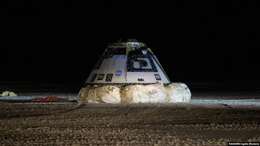 Космический корабль Starliner после первого испытательного полета в 2019 году, в ходе которого не состоялась стыковка с Международной космической станцией
