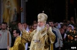 Патріарх Кирило під час виступу у храмі Христа-Спасителя. Москва, 6 січня 2015 року