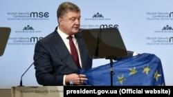 Президент України Петро Порошенко під час виступу на Мюнхенської конференції з питань безпеки. Мюнхен, 16 лютого 2018 року