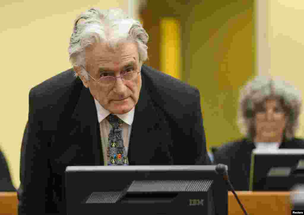 Bosnian Serb wartime leader Radovan Karadzic appears in the courtroom for his appeals judgment at the International Criminal Tribunal for the Former Yugoslavia in The Hague on July 11.