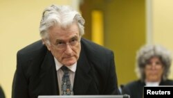 Bosnian Serb wartime leader Radovan Karadzic appears at the International Criminal Tribunal for the Former Yugoslavia (ICTY) in The Hague.