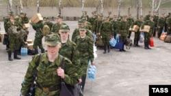 Recruits at a conscription center in Novosibirsk