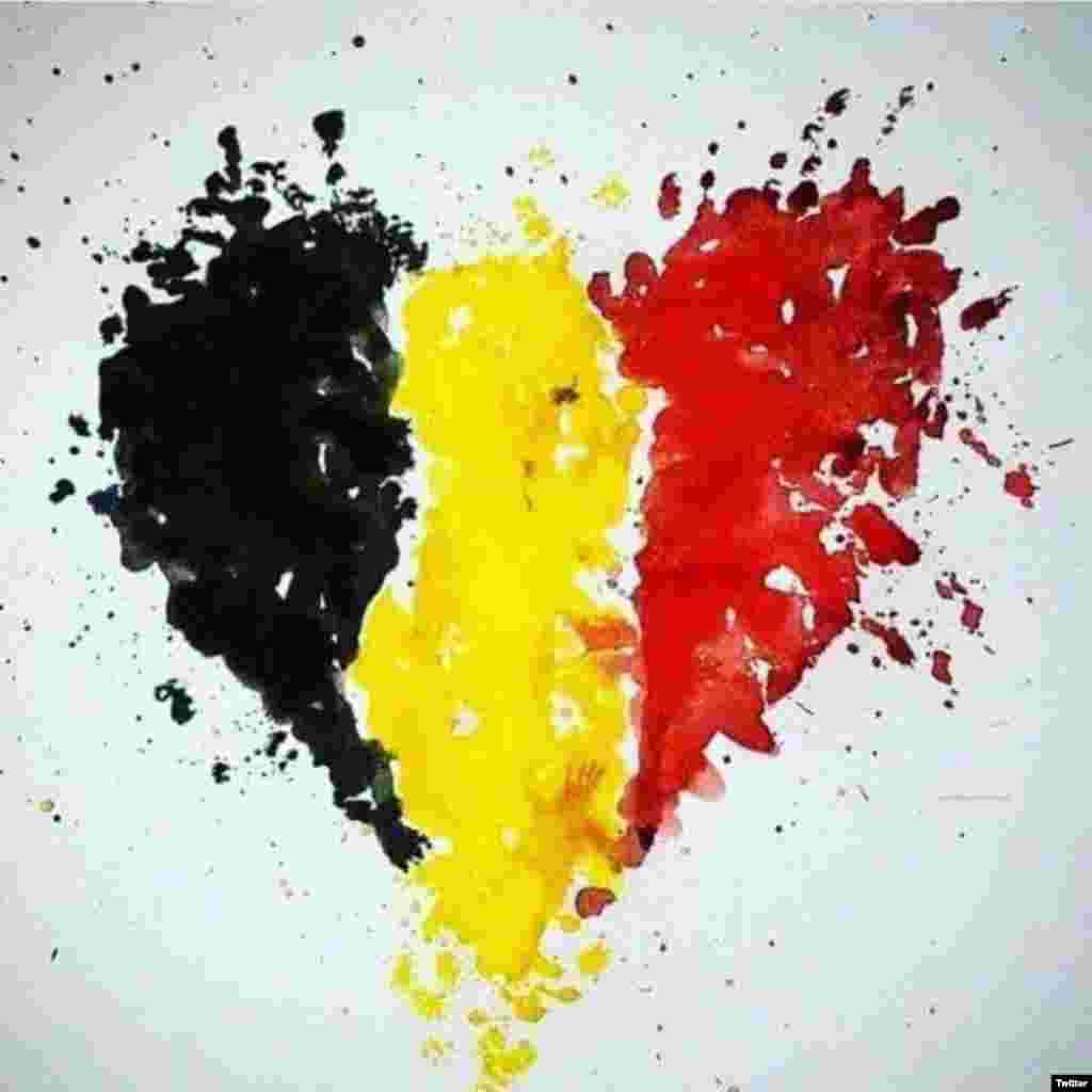 Another meme that made use of Belgium's national colors (Social-media generated content, via the #JeSuisBruxelles hashtag on Twitter)