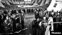 Soviet Armenia - Armenian Communist Party First Secretary Karen Demirchian inaugurates the Hamalir sport and concert arena, Yerevan, 31Oct1983.