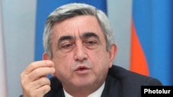 Armenia - President Serzh Sarkisian speaks at a news conference, 28Jul2011.