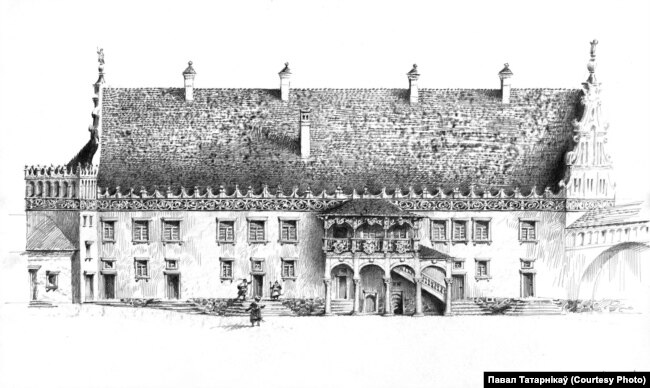Выгляд каралеўскага палаца з боку двара пасьля рэканструкцыі, рэканструкцыя Паўла Татарнікава