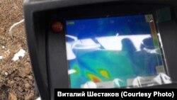 Фото экрана тепловизора в районе Парниковка в Киселевске