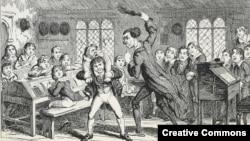 Порка в школе. Карикатура Джорджа Крукшенка (Великобритания), 1839 год