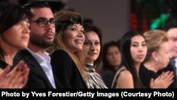 ONLY FOR USE BY UZBEK Service!!!TASHKENT, UZBEKISTAN - OCTOBER 12: H.E.Dr Gulnara Karimova (3rd L) chairwomen of the Board of trustees,Fund forum attends to the Balmain Fashion Show at Youth Creativity Palace on October 12, 2010 in Tashkent, Uzbekistan.