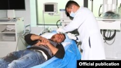 Nagorno-Karabakh - Yevand Firian, a Karabakh Armenian farmer, receives medical treatment after being wounded in Azerbaijani rocket fire, 26Mar2015.