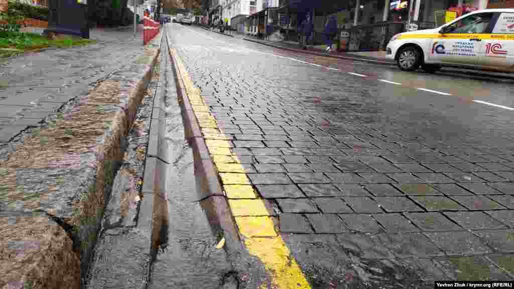 По ливнестоку вдоль улицы Айвазовского течет дождевая река