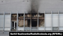 Здание, где располагается телеканал «Интер», после нападения и поджога, 4 сентября 2016 года.