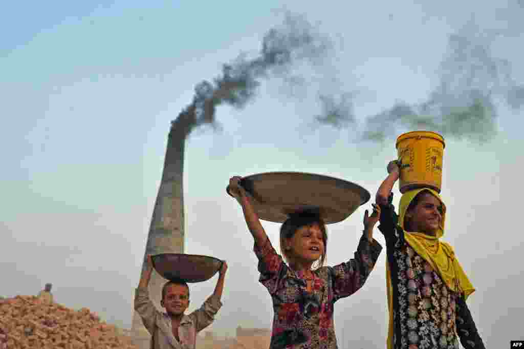 Afghan children carry coal from a brick factory to their home on the outskirts of Jalalabad. (AFP/Noorullah Shirzada)