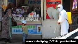 Специалист проводит дезинфекцию на одном из рынков города Оша. 6 июня 2020 года.
