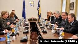 Mogherini sa članovima Predsjedništva BiH, foto: Midhat Poturović