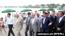Armenia -- President Serzh Sarkisian visits public beaches at Lake Sevan, 29Jun2011