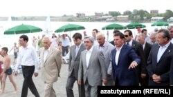Armenia -- President Serzh Sarkisian visits public beaches at Lake Sevan, 29Jun2011