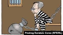 Karikatura Predraga Koraksića Coraxa nakon što je Miškoviću 12. decembra određen pritvor