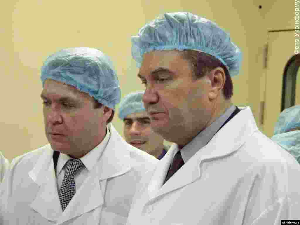 During a visit to a chemical plant in Donetsk in 2002.