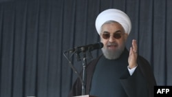 Iranian President Hassan Rohani giving a speech during a visit to the eastern province of Khorasan in late December.