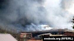 Пажар пасьля выбуху на «Пінскдрэве»