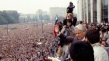 Russia - Russian President Boris Yeltsin (C) during a rally on 20 August 1991 outside the Government House, Moscow (TASS)