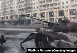 Another of the destroyed Russian armored vehicles