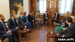 Սիրիայի նախագահ Բաշար Ասադն ընդունել է ՌԴ իշխող «Եդինայա Ռոսիա» կուսակցության պատվիրակությանը, Դամասկոս, 15-ը ապրիլի, 2018 թ․