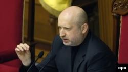 Ուկրաինա -- Խորհրդարանի նորանշանակ խոսնակ Օլեկսանդր Տուրչինովը ելույթ է ունենում խորհրդարանում, Կիև, 23-ը փետրվարի, 2014թ․
