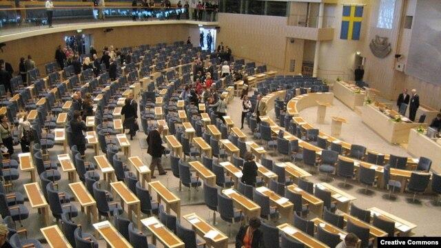 Sweden -- Riksdag building, assembly hall, Stockholm, undated