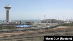 The newly opened seaport on the Caspian Sea in Turkmenbashi